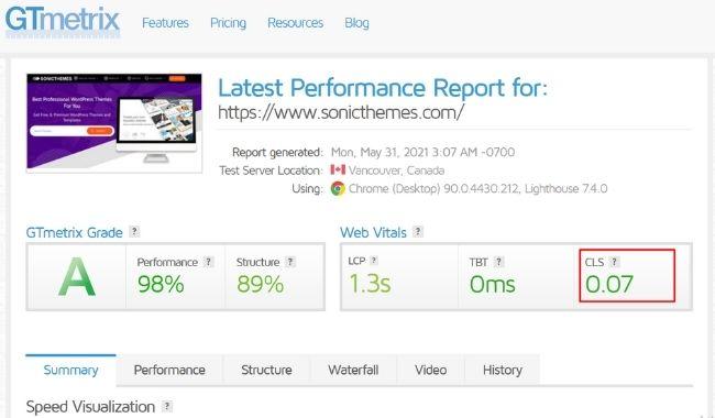 web vital report example