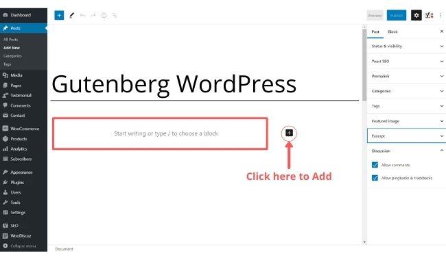 add new block in gutenberg editor
