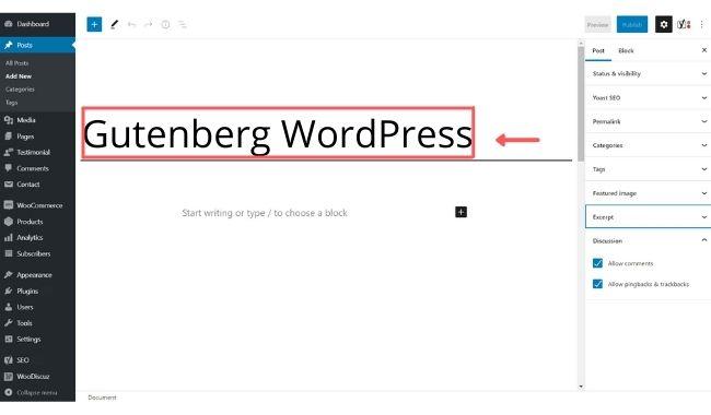 add a new title in gutenberg