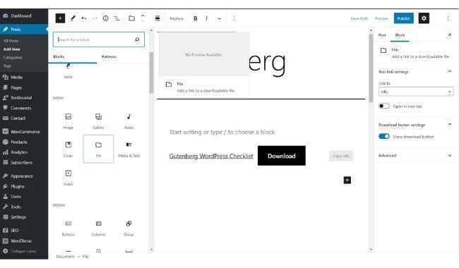 add files in gutenberg