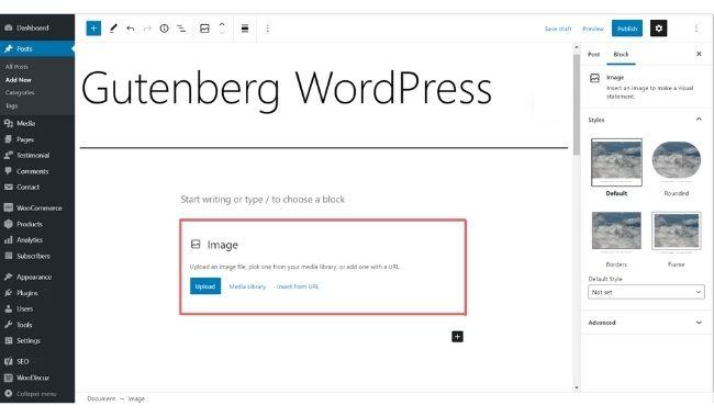gutenberg image block