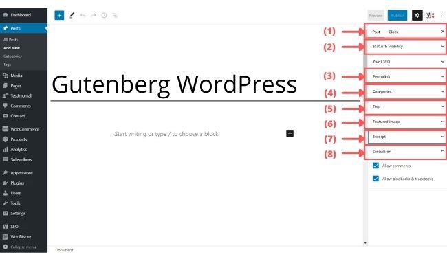 gutenberg sidebar option for block