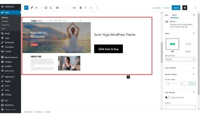 added product in gutenberg