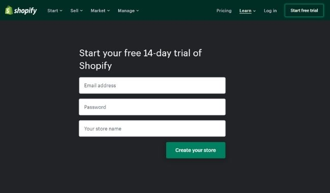 start your shopify free trail
